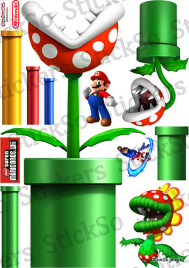 Super Mario Bros Wii, Pipe Plant 1 RePositionable wall Sticker MEDIUM